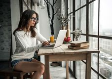 Girl at home. Beautiful young girl in casual clothes is working with a laptop while sitting at the wooden table at home Royalty Free Stock Image