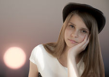 Beautiful young girl in hat Royalty Free Stock Image