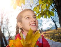 Beautiful young girl - colorful autumn portrait Stock Images