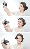 Beautiful young girl with creative make-up and hair style taking photos of herself with a camera. Fashionable attractive teen girl Stock Image