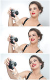 Beautiful young girl with creative make-up and hair style taking photos of herself with a camera. Fashionable attractive woman Stock Photo