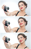 Beautiful young girl with creative make-up and hair style taking photos of herself with a camera. Fashionable attractive woman Stock Photography