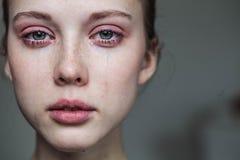 Beautiful Young Girl Crying Stock Photo