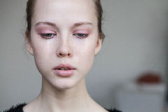 Beautiful Young Girl Crying Stock Images