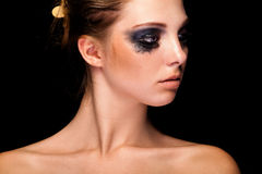 Beautiful young girl with crying black make up Royalty Free Stock Images