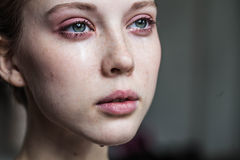 Beautiful young girl crying Royalty Free Stock Photos