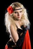 Beautiful young girl dancing spanish dance. Royalty Free Stock Photography