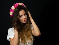 Beautiful young girl in diadem Stock Photos