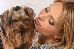 Beautiful young girl with dog Yorkshire terrier. Young girl with dog Yorkshire terrier on hands Stock Image