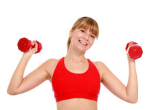 Beautiful young girl doing fitness exercises. Stock Photo