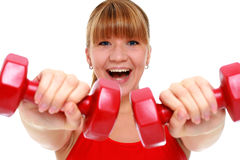 Beautiful young girl doing fitness exercises. Stock Image
