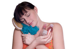 Beautiful young girl dreaming about relax Stock Photo