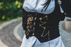 Beautiful, young girl dressed in style steampunk stock photography