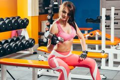 Beautiful young girl engaged in fitness in the gym. Brunette perform physical exercises with dumbbells Royalty Free Stock Image
