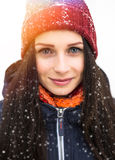 Beautiful young girl enjoy in winter park royalty free stock images