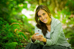 Beautiful young girl enjoying excellent Stock Images