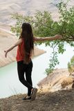 Beautiful young girl enjoying her freedom royalty free stock image