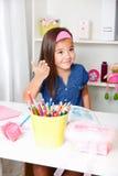 Beautiful young girl explaining something Royalty Free Stock Photo
