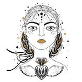 Beautiful young girl, face foreground. Vintage sketch style of drawing. Sketch for tattoo, isolated print on t-shirt. Magical, mys royalty free illustration
