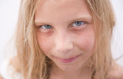 Beautiful young girl face with heatdrops Royalty Free Stock Photo