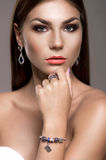 Beautiful young girl with fashiom makeup Royalty Free Stock Image