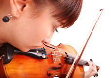 Beautiful young girl with fiddle. Royalty Free Stock Photo