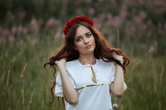 Beautiful young girl in a field on the background colors Stock Photos
