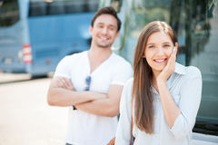 Beautiful young girl is flirting with guy Royalty Free Stock Photo