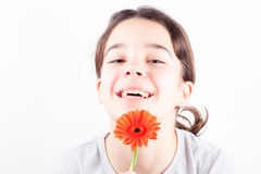 Girl with flower. Beautiful young girl with flower on white background Stock Images