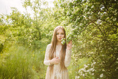 Beautiful young girl in a flowering lilac. Garden of lilac bloom Royalty Free Stock Photo