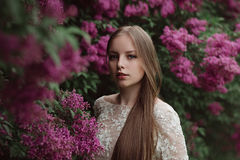 Beautiful young girl in a flowering lilac. Garden of lilac bloom Royalty Free Stock Photos