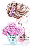 Beautiful young girl with flowers. Fashion woman with beautiful hairstyle. Sketch. Stock Photos