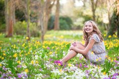 Beautiful young girl in forest on a spring day.  Royalty Free Stock Photos