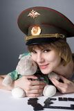 Beautiful young girl in form of Russian army Royalty Free Stock Photos