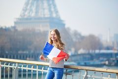 Beautiful young girl with French national flag Royalty Free Stock Photography