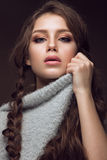Beautiful young girl with gentle make-up in warm Royalty Free Stock Photography