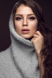 Beautiful young girl with gentle make-up in warm sweater and long straight hair. Beauty face. Royalty Free Stock Photography
