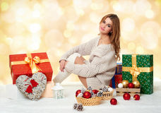 Beautiful young girl with gift boxes - holiday concept Stock Photo