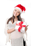Beautiful young girl  with gifts in hand on a white background Royalty Free Stock Images