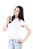 Beautiful young girl and glass of water Stock Photo