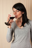 Beautiful young girl  with  glass of wine Royalty Free Stock Photos