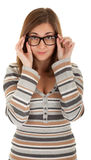 Beautiful young girl in glasses Royalty Free Stock Image
