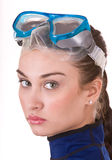 Beautiful young girl in goggles. Royalty Free Stock Photo