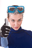 Beautiful young girl in goggles. Royalty Free Stock Photos