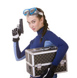 Beautiful young girl in goggles with box. Royalty Free Stock Photos