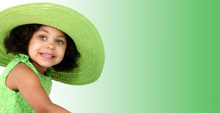 Beautiful Young Girl In Green Summer Hat Stock Photos