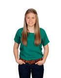 Beautiful young girl with green t-shirt Royalty Free Stock Image