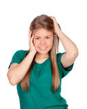 Beautiful young girl with green t-shirt Stock Image