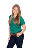 Beautiful young girl with green t-shirt Stock Photography