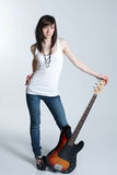 Beautiful young girl with guitar Royalty Free Stock Image